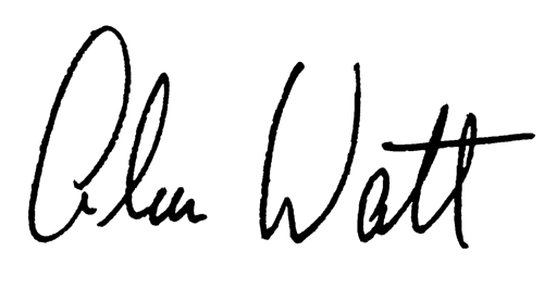 The written signature of Alan Watt, writing teacher